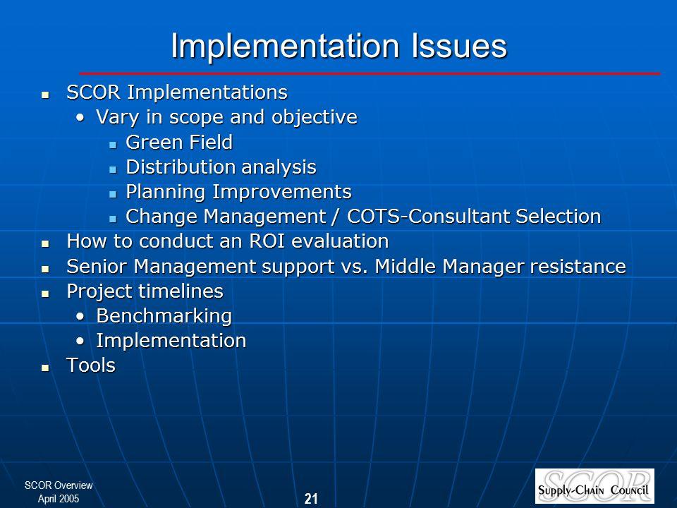 SCOR Overview April 2005 21 Implementation Issues SCOR Implementations SCOR Implementations Vary in scope and objectiveVary in scope and objective Gre