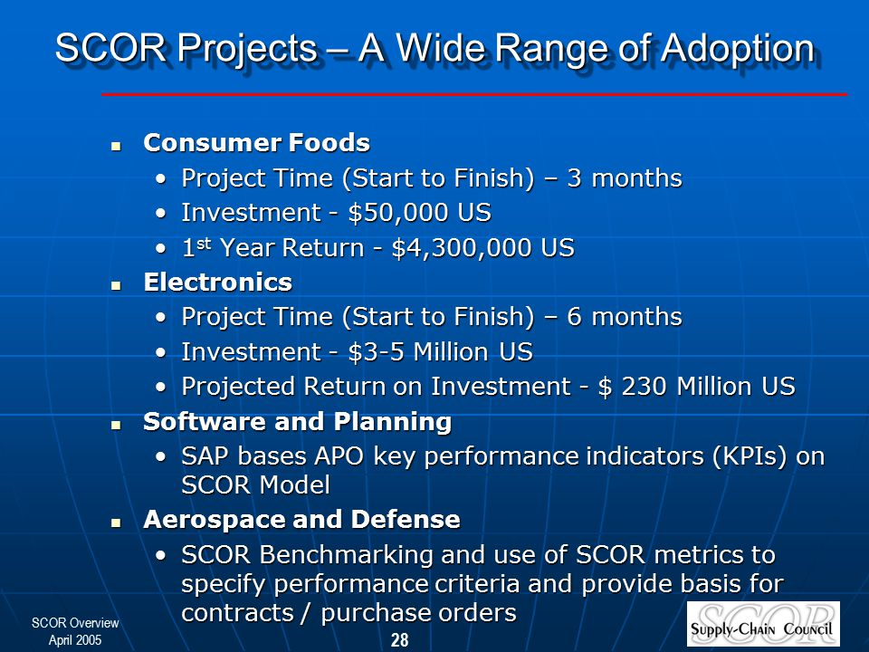 SCOR Overview April 2005 28 SCOR Projects – A Wide Range of Adoption Consumer Foods Consumer Foods Project Time (Start to Finish) – 3 monthsProject Ti