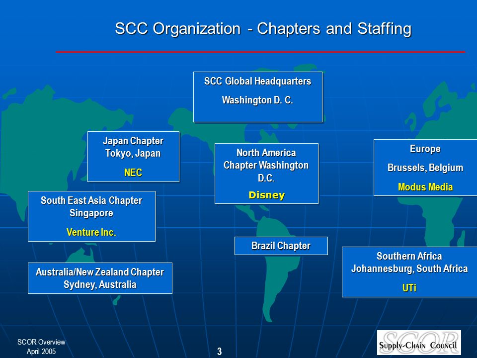 SCOR Overview April 2005 3 SCC Organization - Chapters and Staffing Australia/New Zealand Chapter Sydney, Australia South East Asia Chapter Singapore