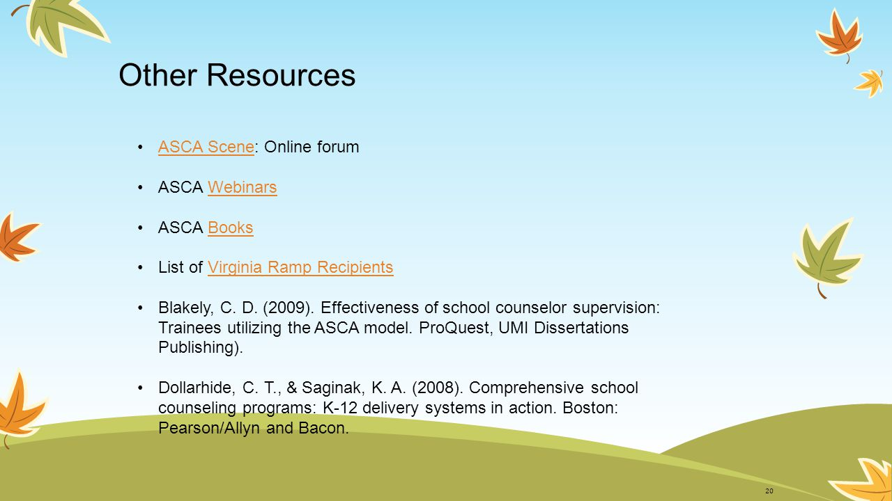 Recommended Activity: Case Study (on your own time) 1.Go to http://www.schoolcounselor.org/.http://www.schoolcounselor.org/ 2.Click on the ASCA National Model/RAMP link on the left side of your screen.