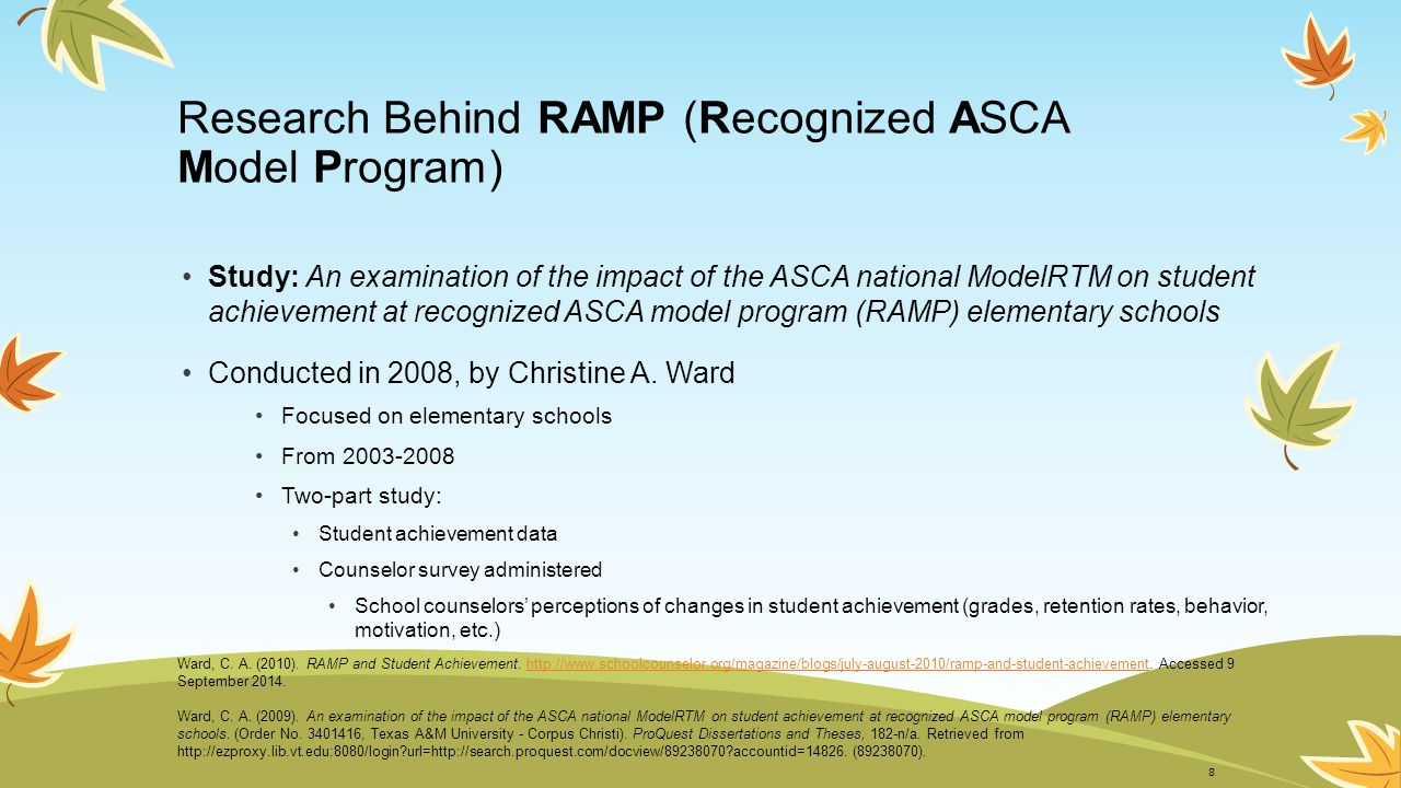 Research Behind RAMP cont'd Findings Student Achievement – These factors were significantly higher Overall student achievement Attendance rates Third-grade reading achievement Third-grade, low-income student reading achievement Additionally, Reading achievement gap decreased by 12% (from year prior to receiving RAMP designation) State reading achievement gaps increased 6% RAMP schools' math achievement scores higher (not significant) Ward, C.
