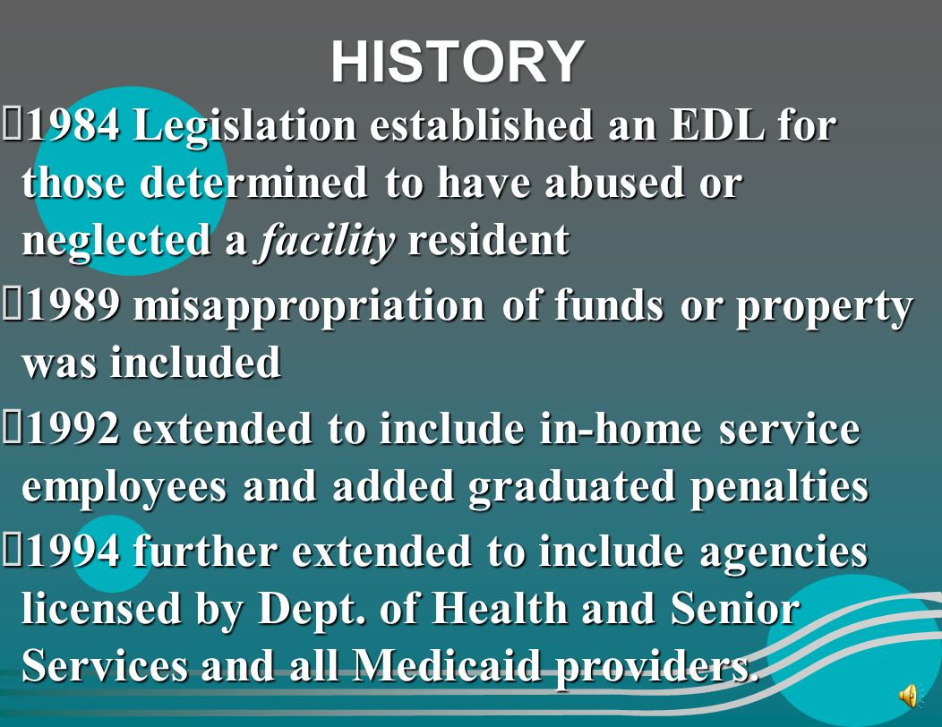 Objectives Laws & State RegulationsLaws & State Regulations Employee Disqualification List (EDL)Employee Disqualification List (EDL) Investigative Pro