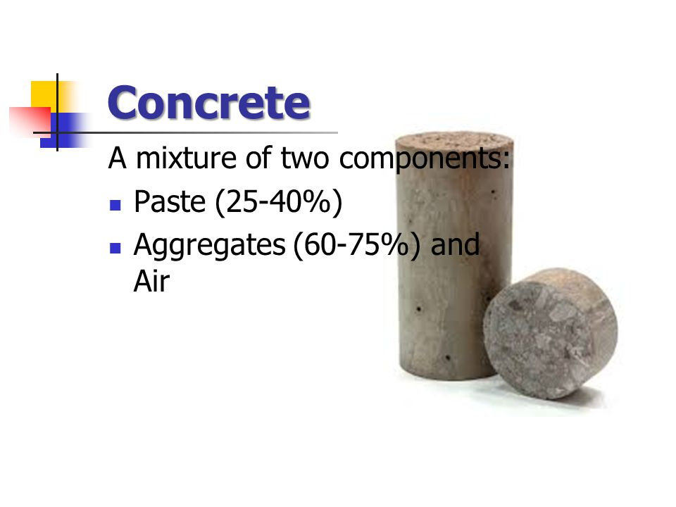Concrete A mixture of two components: Paste (25-40%) Aggregates (60-75%) and Air