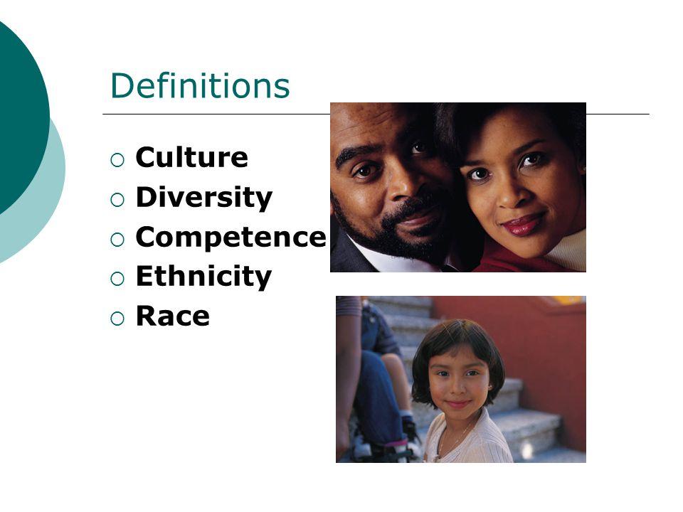 Definitions  Culture  Diversity  Competence  Ethnicity  Race