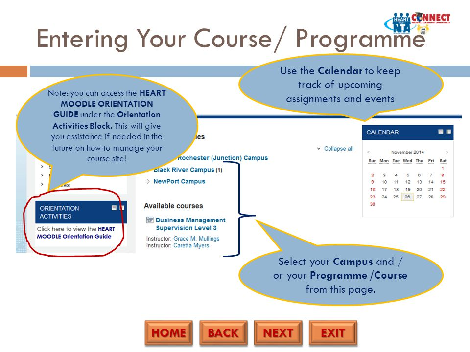 HOME BACK NEXT EXIT Entering Your Course/ Programme Select your Campus and / or your Programme /Course from this page.