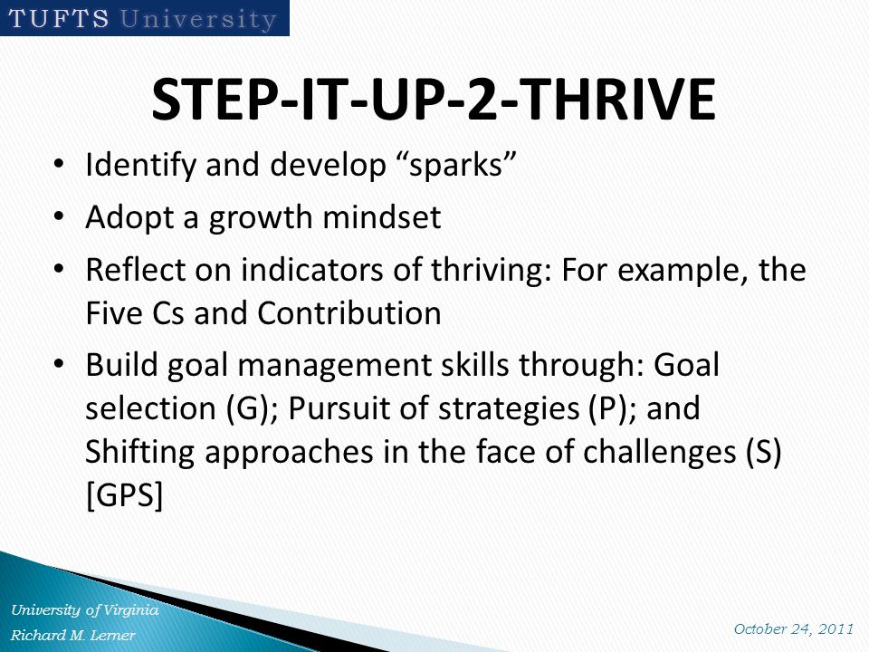 STEP-IT-UP-2-THRIVE Identify and develop sparks Adopt a growth mindset Reflect on indicators of thriving: For example, the Five Cs and Contribution Build goal management skills through: Goal selection (G); Pursuit of strategies (P); and Shifting approaches in the face of challenges (S) [GPS]