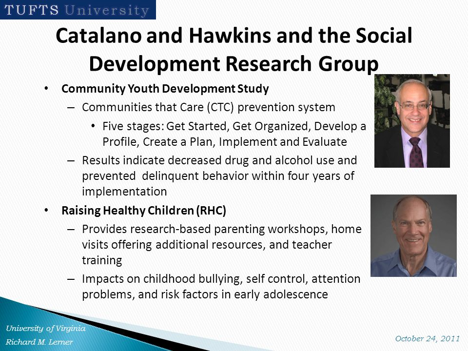 Catalano and Hawkins and the Social Development Research Group Community Youth Development Study – Communities that Care (CTC) prevention system Five stages: Get Started, Get Organized, Develop a Profile, Create a Plan, Implement and Evaluate – Results indicate decreased drug and alcohol use and prevented delinquent behavior within four years of implementation Raising Healthy Children (RHC) – Provides research-based parenting workshops, home visits offering additional resources, and teacher training – Impacts on childhood bullying, self control, attention problems, and risk factors in early adolescence