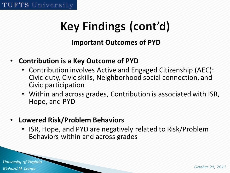 Important Outcomes of PYD Contribution is a Key Outcome of PYD Contribution involves Active and Engaged Citizenship (AEC): Civic duty, Civic skills, Neighborhood social connection, and Civic participation Within and across grades, Contribution is associated with ISR, Hope, and PYD Lowered Risk/Problem Behaviors ISR, Hope, and PYD are negatively related to Risk/Problem Behaviors within and across grades