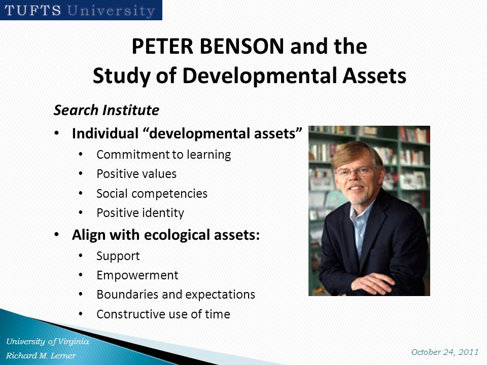 PETER BENSON and the Study of Developmental Assets Search Institute Individual developmental assets Commitment to learning Positive values Social competencies Positive identity Align with ecological assets: Support Empowerment Boundaries and expectations Constructive use of time