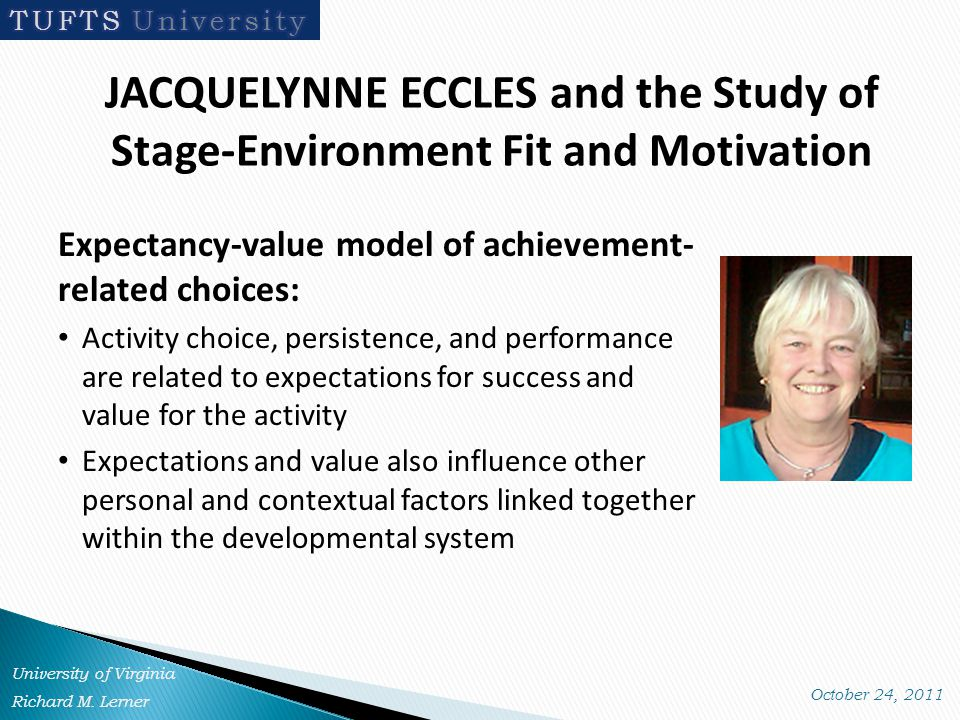 JACQUELYNNE ECCLES and the Study of Stage-Environment Fit and Motivation Expectancy-value model of achievement- related choices: Activity choice, persistence, and performance are related to expectations for success and value for the activity Expectations and value also influence other personal and contextual factors linked together within the developmental system