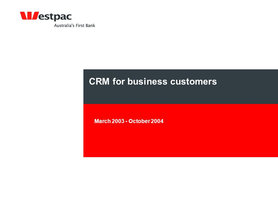 CRM for business customers March 2003 - October 2004