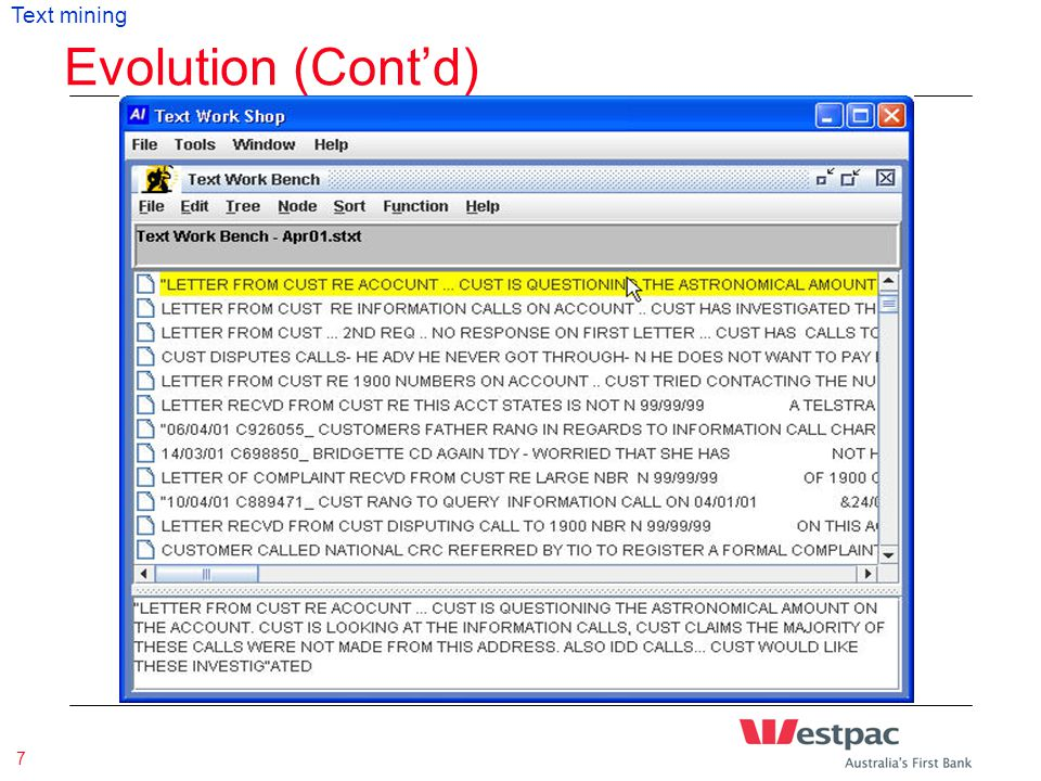 Presentation Title & Date 7 Evolution (Cont'd) Text mining