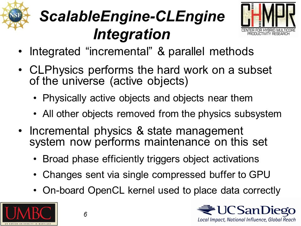 "ScalableEngine-CLEngine Integration Integrated ""incremental"" & parallel methods CLPhysics performs the hard work on a subset of the universe (active o"