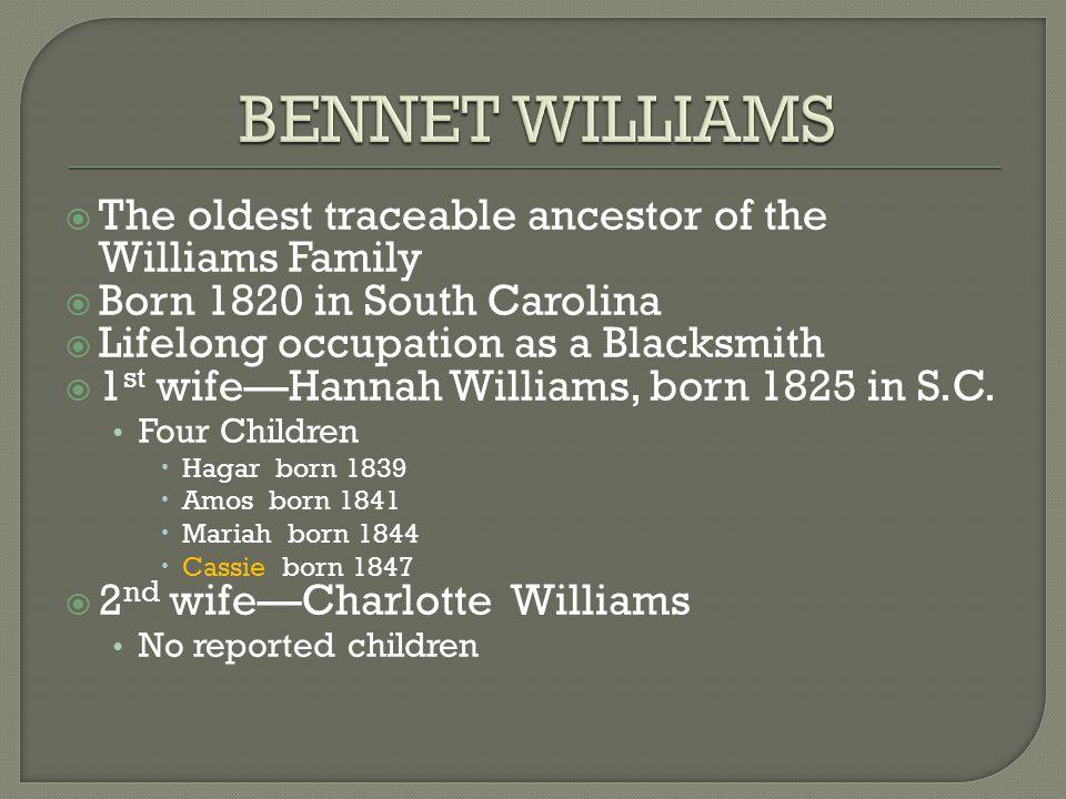  The oldest traceable ancestor of the Williams Family  Born 1820 in South Carolina  Lifelong occupation as a Blacksmith  1 st wife—Hannah Williams