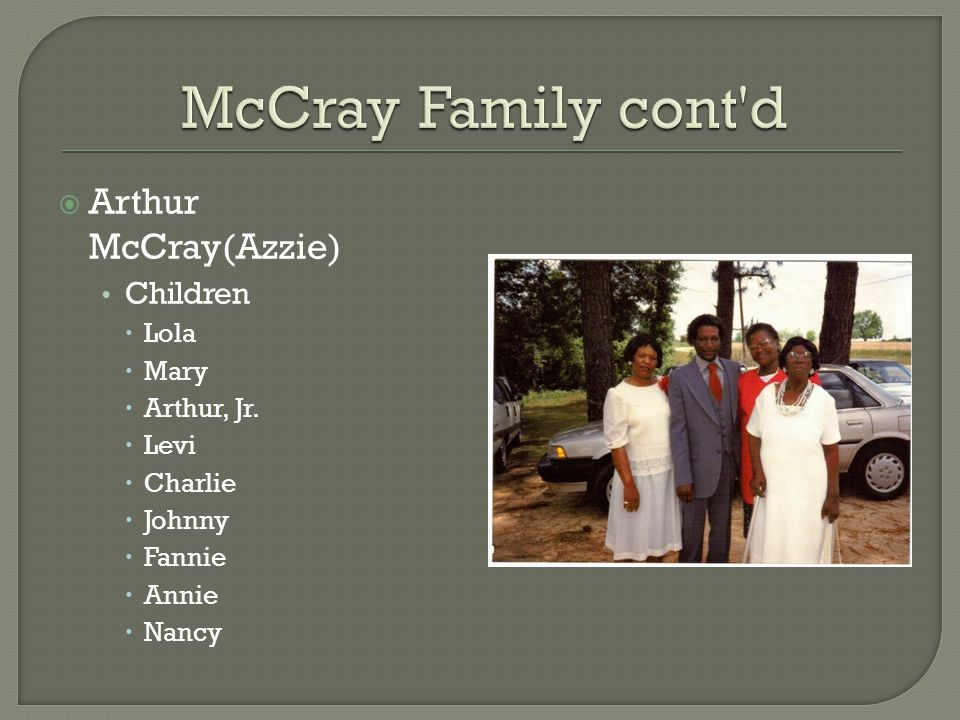  Arthur McCray(Azzie) Children  Lola  Mary  Arthur, Jr.  Levi  Charlie  Johnny  Fannie  Annie  Nancy