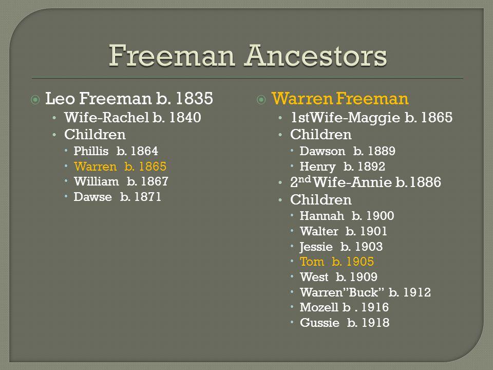  Leo Freeman b. 1835 Wife-Rachel b. 1840 Children  Phillis b. 1864  Warren b. 1865  William b. 1867  Dawse b. 1871  Warren Freeman 1stWife-Maggi