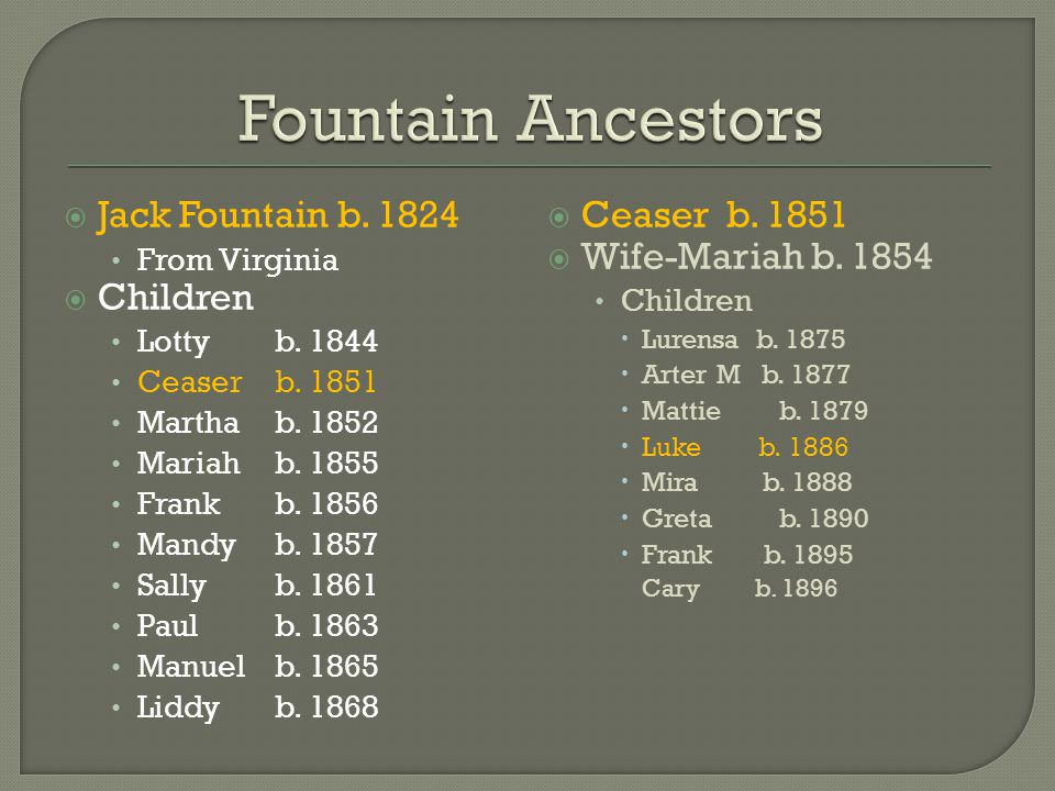  Jack Fountain b. 1824 From Virginia  Children Lotty b.