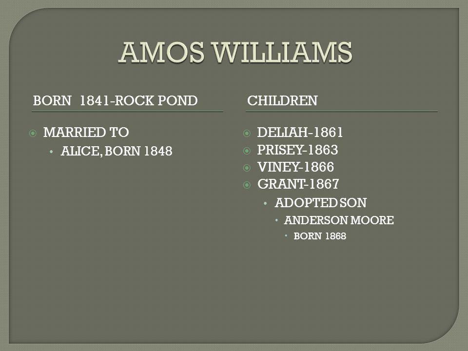BORN 1841-ROCK PONDCHILDREN  MARRIED TO ALICE, BORN 1848  DELIAH-1861  PRISEY-1863  VINEY-1866  GRANT-1867 ADOPTED SON  ANDERSON MOORE  BORN 1868