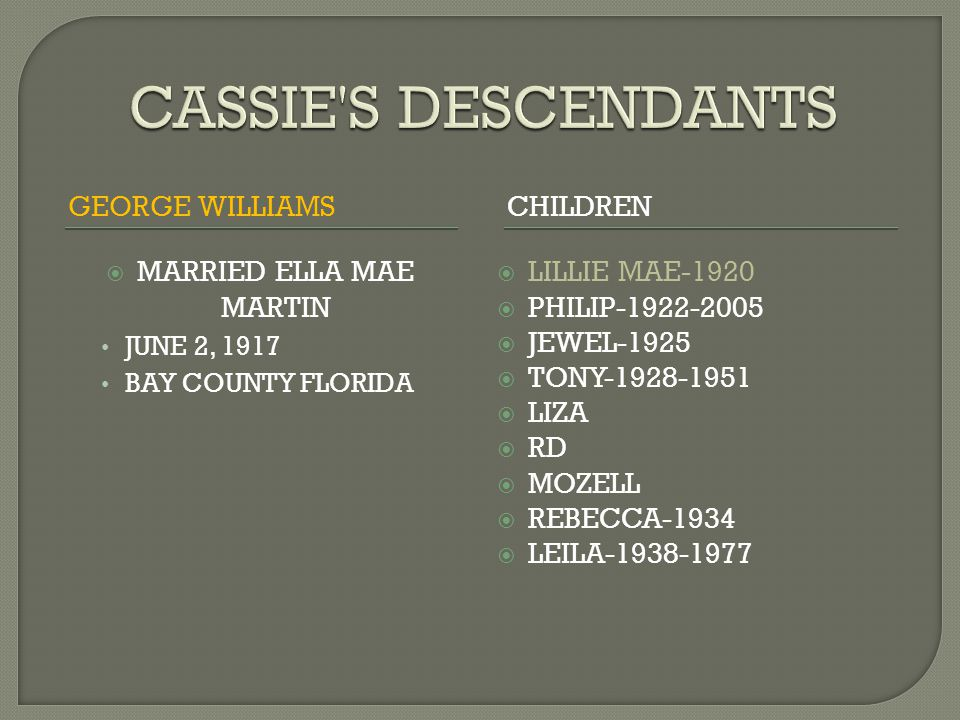 GEORGE WILLIAMSCHILDREN  MARRIED ELLA MAE MARTIN JUNE 2, 1917 BAY COUNTY FLORIDA  LILLIE MAE-1920  PHILIP-1922-2005  JEWEL-1925  TONY-1928-1951  LIZA  RD  MOZELL  REBECCA-1934  LEILA-1938-1977