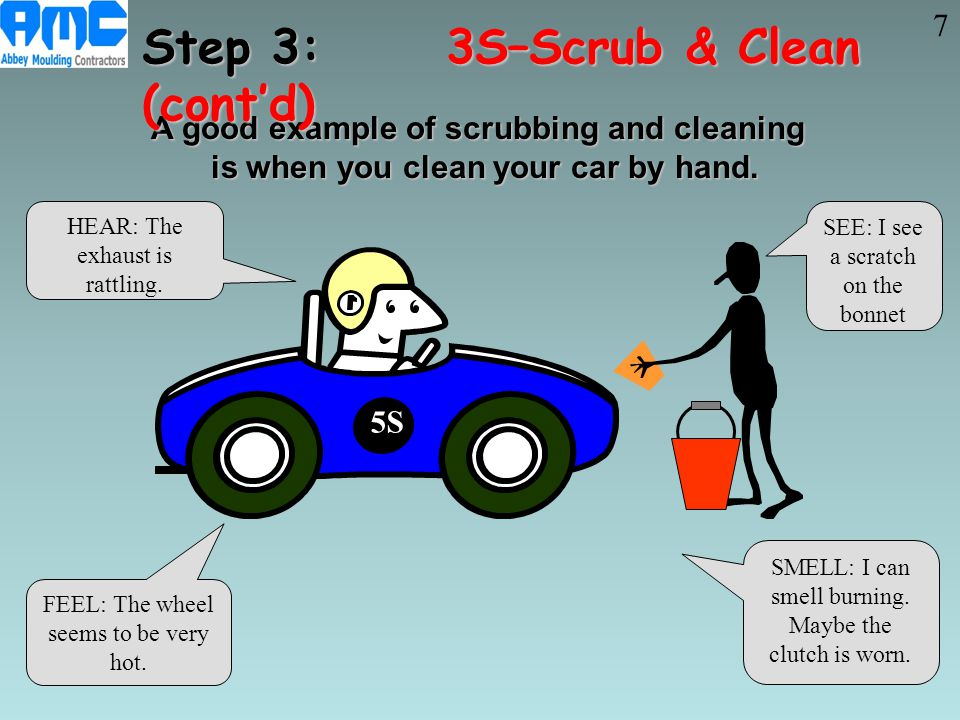 A good example of scrubbing and cleaning is when you clean your car by hand. A good example of scrubbing and cleaning is when you clean your car by ha