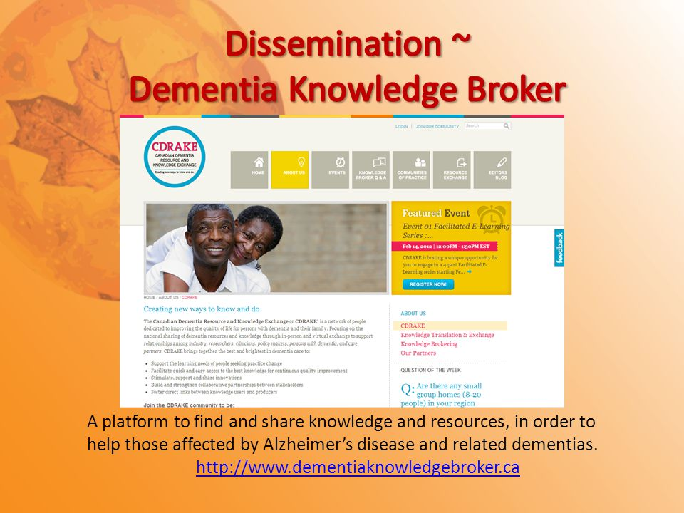 A platform to find and share knowledge and resources, in order to help those affected by Alzheimer's disease and related dementias.