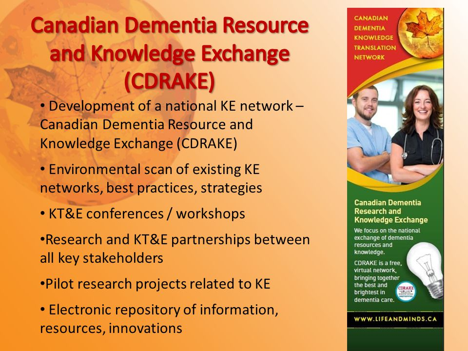Development of a national KE network – Canadian Dementia Resource and Knowledge Exchange (CDRAKE) Environmental scan of existing KE networks, best practices, strategies KT&E conferences / workshops Research and KT&E partnerships between all key stakeholders Pilot research projects related to KE Electronic repository of information, resources, innovations