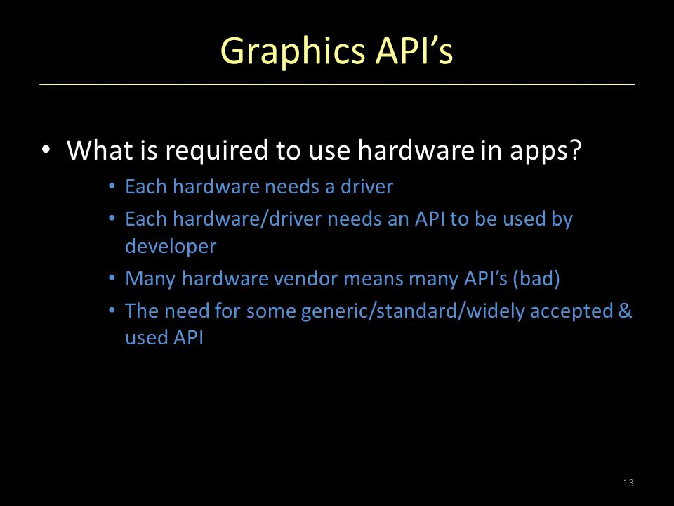 Graphics API's What is required to use hardware in apps? Each hardware needs a driver Each hardware/driver needs an API to be used by developer Many h