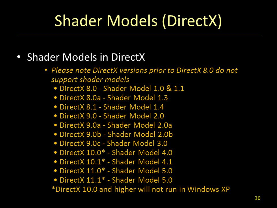 Shader Models (DirectX) Shader Models in DirectX Please note DirectX versions prior to DirectX 8.0 do not support shader models DirectX 8.0 - Shader M