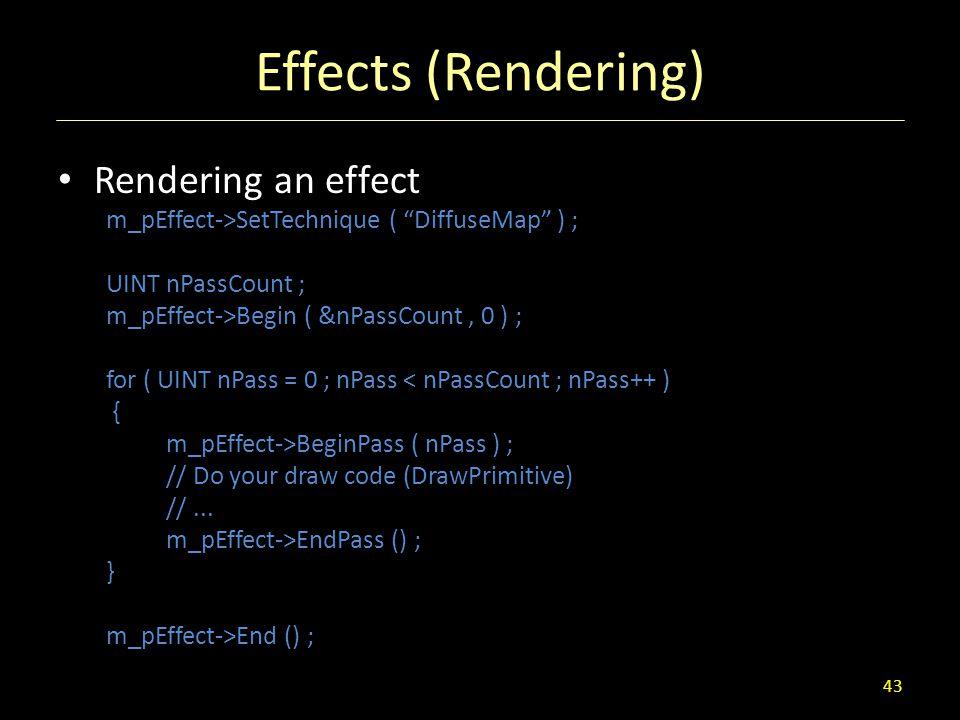 """Effects (Rendering) Rendering an effect m_pEffect->SetTechnique ( """"DiffuseMap"""" ) ; UINT nPassCount ; m_pEffect->Begin ( &nPassCount, 0 ) ; for ( UINT"""