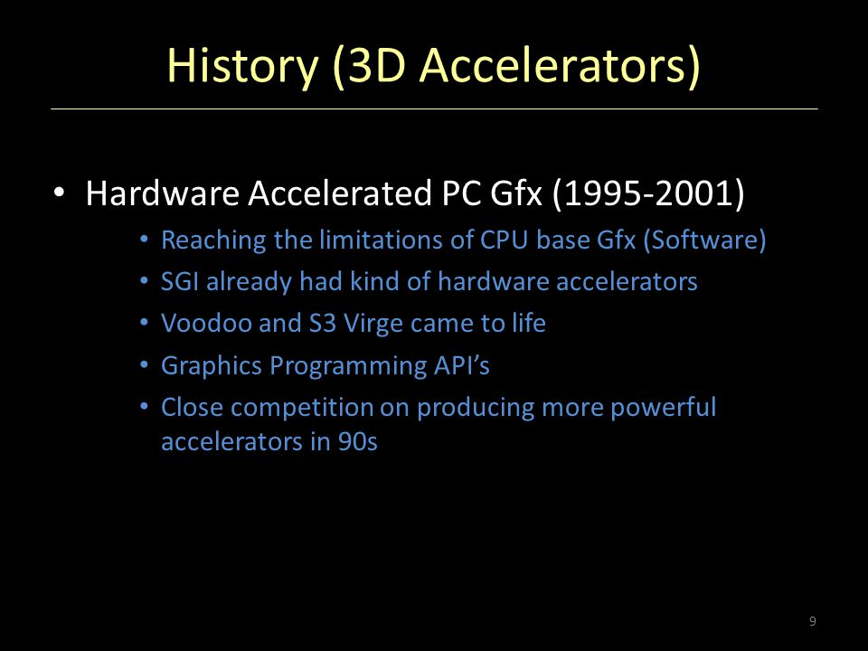 History (3D Accelerators) Hardware Accelerated PC Gfx (1995-2001) Reaching the limitations of CPU base Gfx (Software) SGI already had kind of hardware
