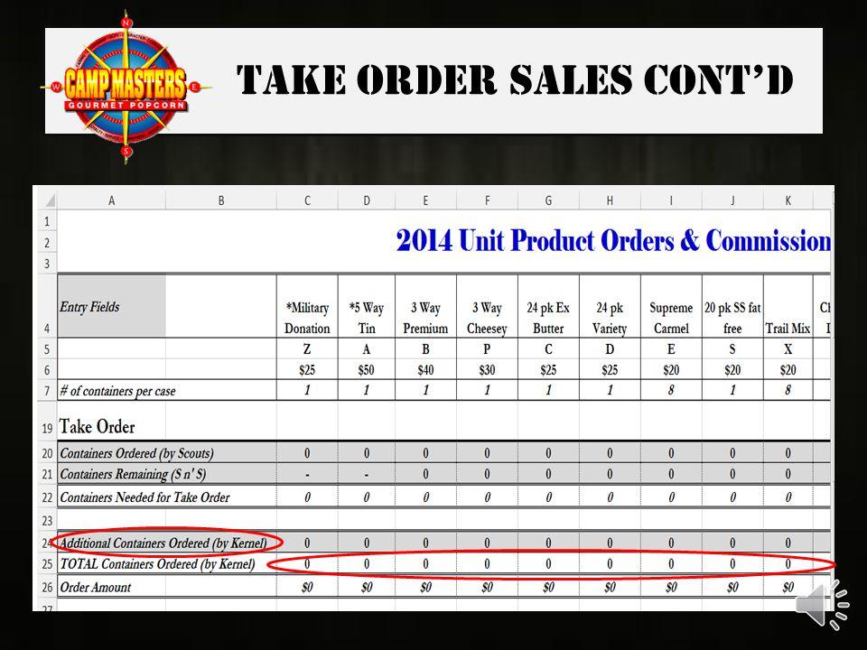 Take Order Sales cont'd