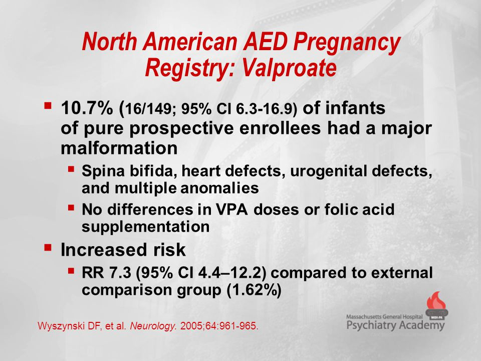 North American AED Pregnancy Registry: Valproate  10.7% ( 16/149; 95% CI 6.3-16.9) of infants of pure prospective enrollees had a major malformation