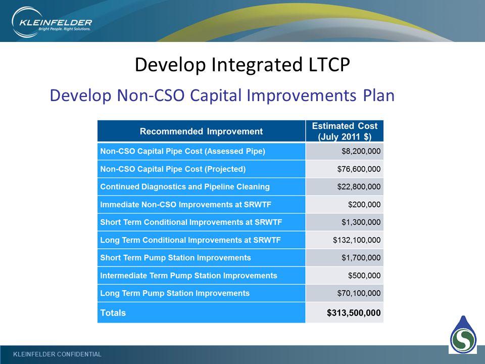 KLEINFELDER CONFIDENTIAL Develop Integrated LTCP Develop Non-CSO Capital Improvements Plan