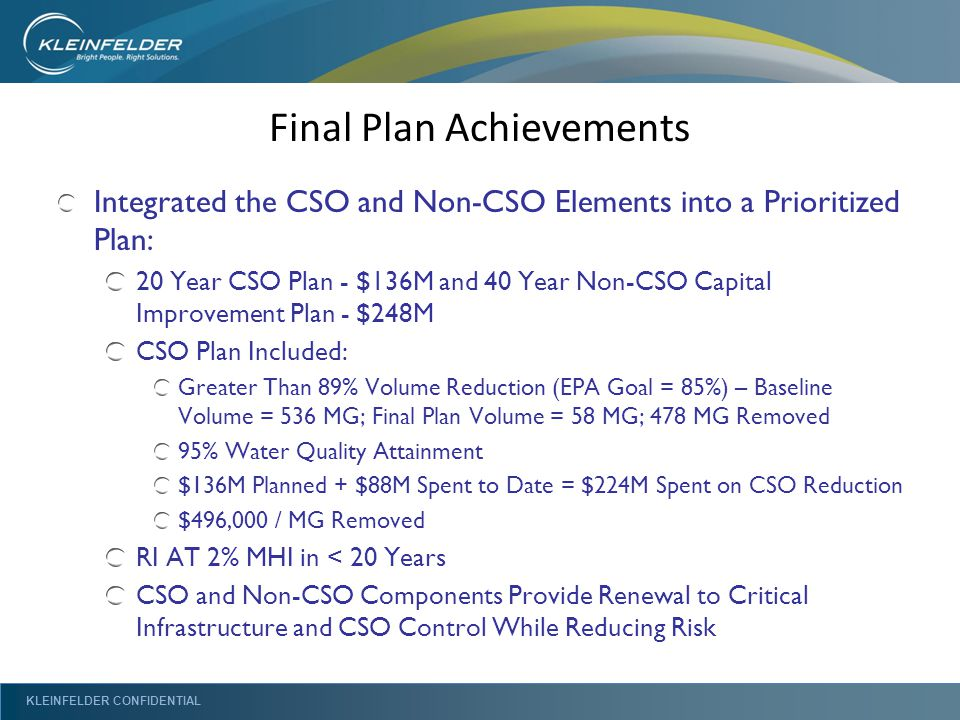 KLEINFELDER CONFIDENTIAL Final Plan Achievements Integrated the CSO and Non-CSO Elements into a Prioritized Plan: 20 Year CSO Plan - $136M and 40 Year