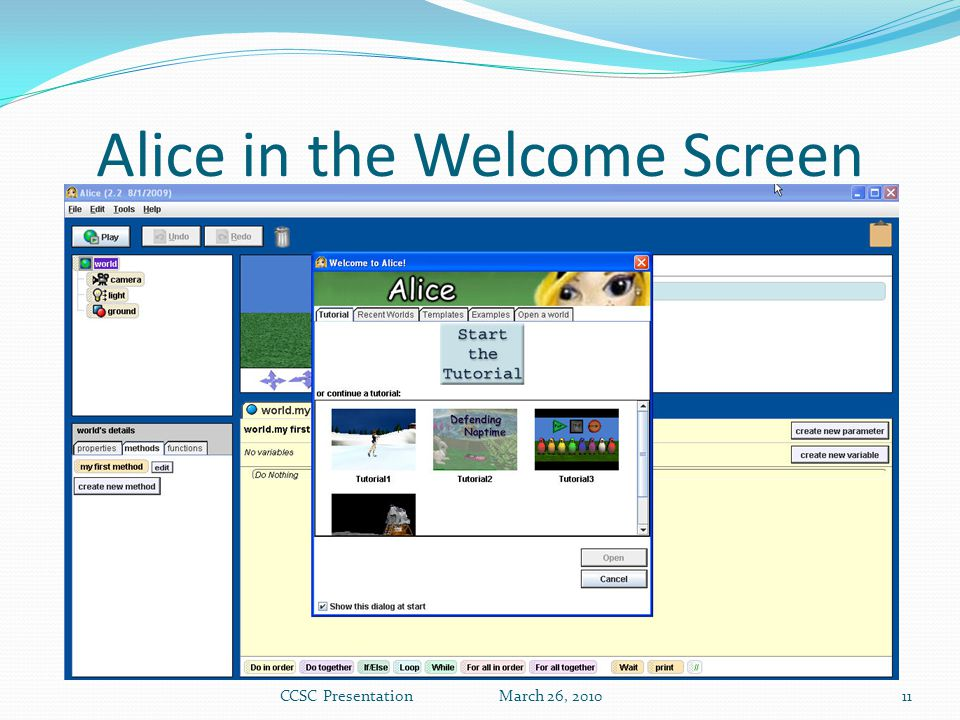 Alice in the Welcome Screen CCSC Presentation March 26, 201011