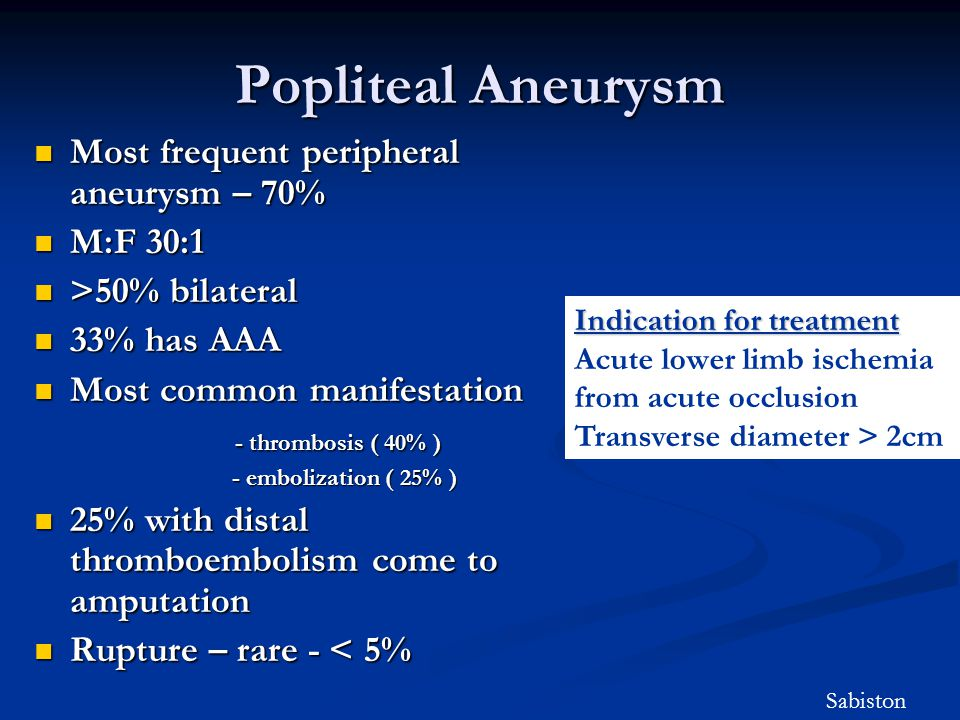 Popliteal Aneurysm Most frequent peripheral aneurysm – 70% Most frequent peripheral aneurysm – 70% M:F 30:1 M:F 30:1 >50% bilateral >50% bilateral 33%