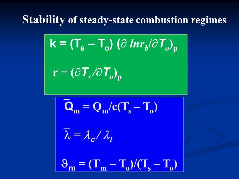 k = (T s – T o ) (  lnr b /  T o ) p r = (  T s /  T o ) p  Q m = Q m /c(T s – T o )  = c / l m = (T m – T o )/(T s – T o ) Stability of steady-state combustion regimes