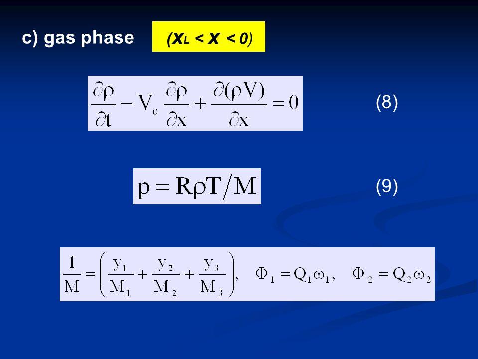 c) gas phase ( x L < x < 0) (8) (9)(9)