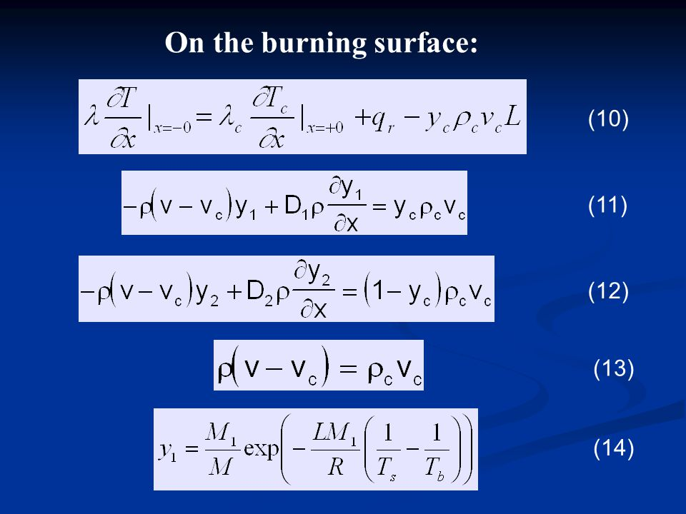 On the burning surface: (10) (11) (12) (14) (13)