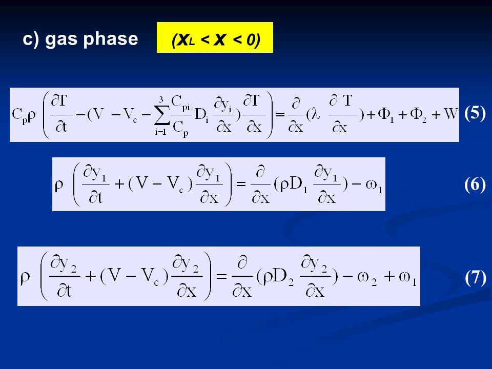 c) gas phase ( x L < x < 0) (5) (6) (7)(7)