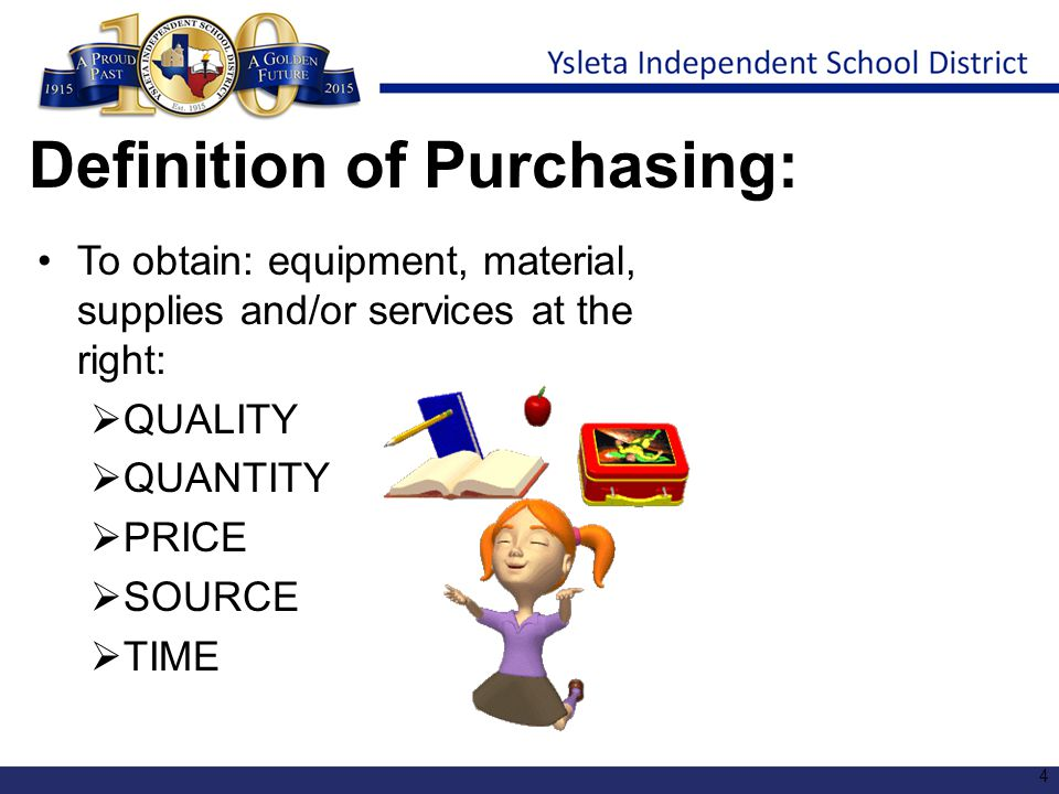 Definition of Purchasing: To obtain: equipment, material, supplies and/or services at the right:  QUALITY  QUANTITY  PRICE  SOURCE  TIME 4