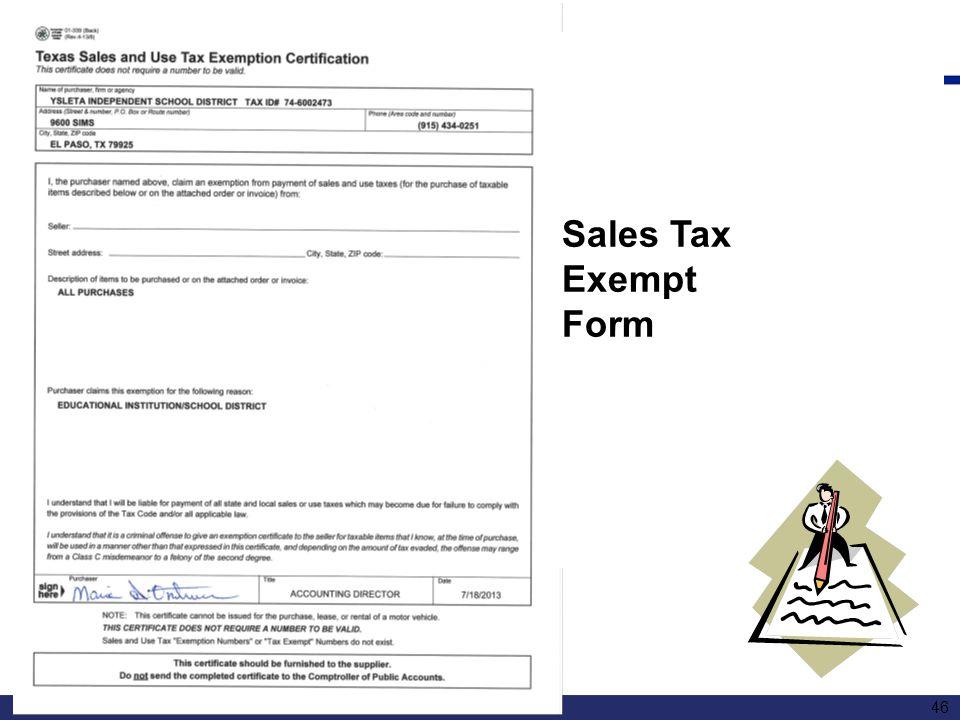 Sales Tax Exempt Form 46