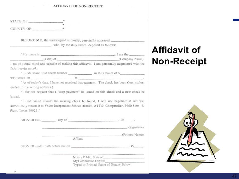 Affidavit of Non-Receipt 47