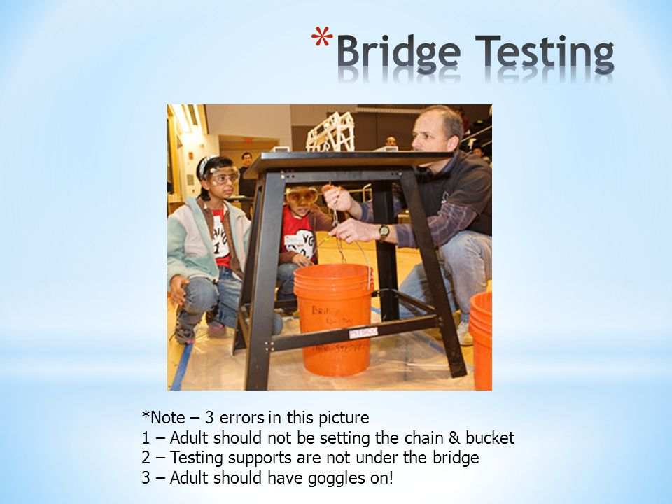 *Note – 3 errors in this picture 1 – Adult should not be setting the chain & bucket 2 – Testing supports are not under the bridge 3 – Adult should have goggles on!