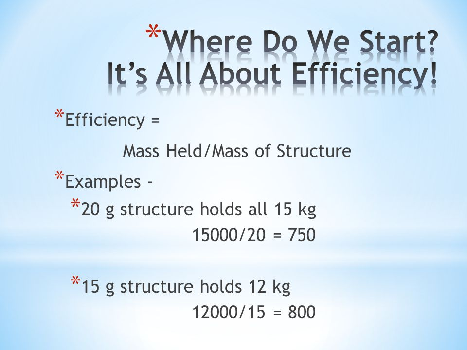* Efficiency = Mass Held/Mass of Structure * Examples - * 20 g structure holds all 15 kg 15000/20 = 750 * 15 g structure holds 12 kg 12000/15 = 800