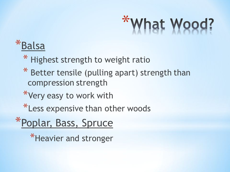 * Balsa * Highest strength to weight ratio * Better tensile (pulling apart) strength than compression strength * Very easy to work with * Less expensive than other woods * Poplar, Bass, Spruce * Heavier and stronger