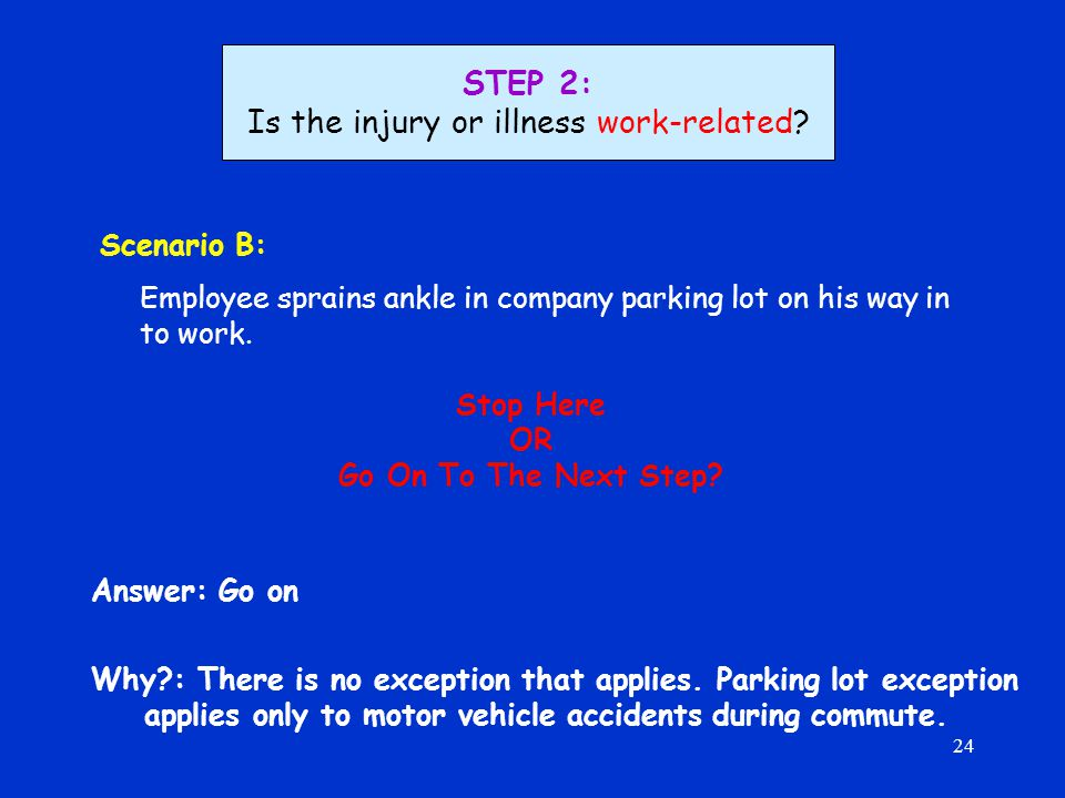 24 Scenario B: Employee sprains ankle in company parking lot on his way in to work.