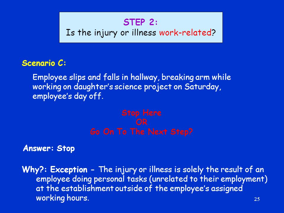 25 Scenario C: Employee slips and falls in hallway, breaking arm while working on daughter's science project on Saturday, employee's day off.