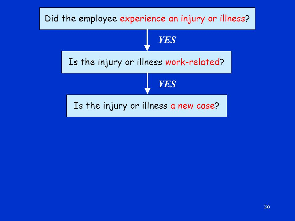 26 Did the employee experience an injury or illness.