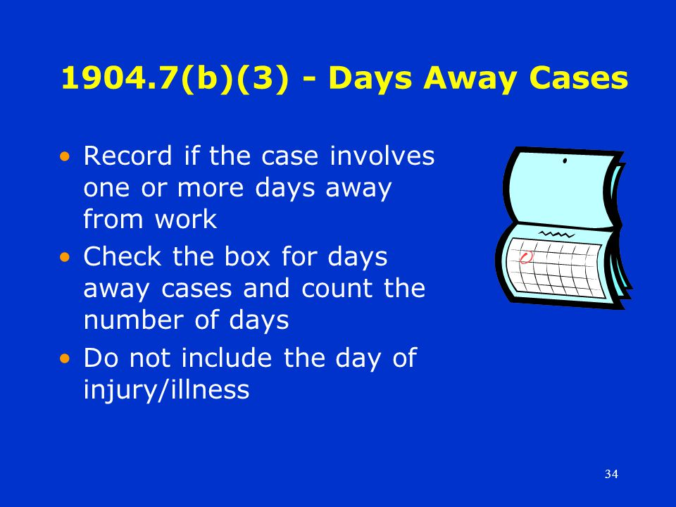 34 1904.7(b)(3) - Days Away Cases Record if the case involves one or more days away from work Check the box for days away cases and count the number of days Do not include the day of injury/illness